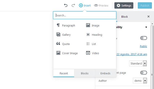 Insertar Bloques con Editor Gutenberg de WordPress