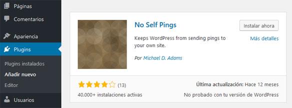 Instalar Plugin No Self Pings para Deshabilitar Pingback en WordPress