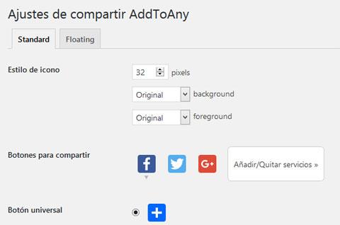 Ajustes del plugin AddToAny para compartir contenido en redes sociales