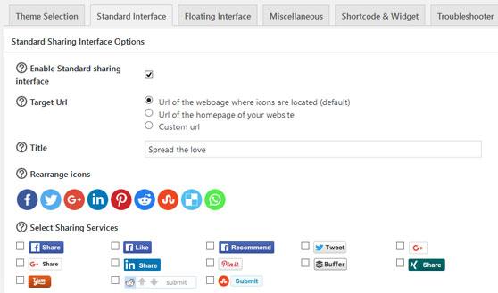 Ajustes del plugin Sassy Social Share de WordPress para compartir contenido en redes sociales