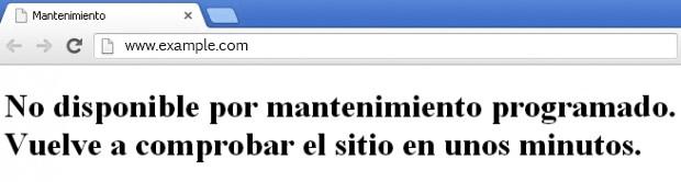 Mensaje de No disponible por mantenimiento programado en el navegador