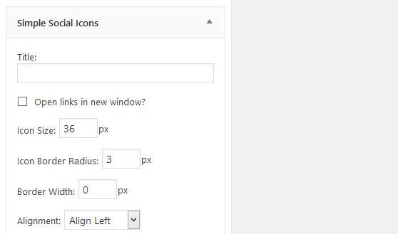 Widget del plugin Simple Social Icons de WordPress para compartir entradas en redes sociales