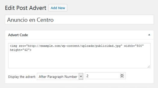 Anuncio en el centro de contenido de entrada de WordPress
