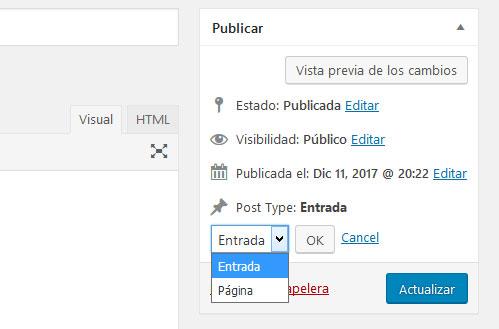 Cambiar el tipo de entrada en WordPress con plugin