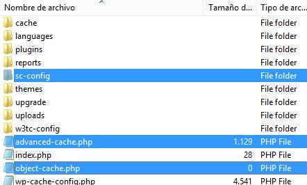 Archivos del plugin simple cache fuera de wp-content de WordPress