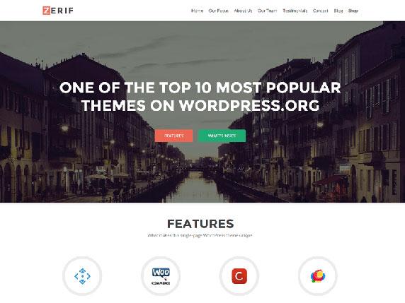 Enlace de demo del gratuito tema Zerif LITE de WordPress