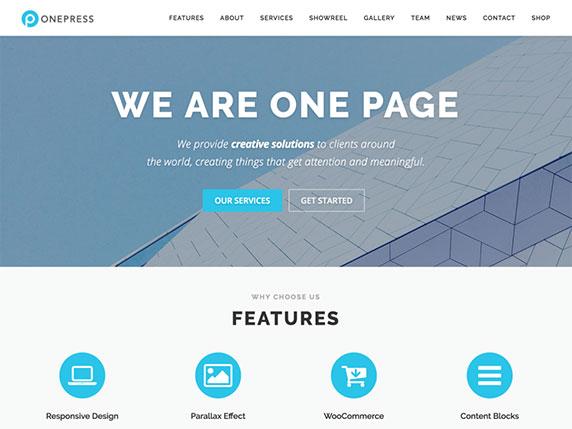 Enlace de demo del gratuito tema OnePress de WordPress