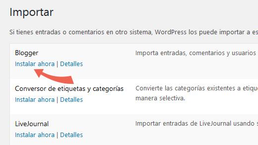 Instalar Importador de Blogger en las herramientas de WordPress