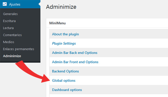 Opciones globales de WordPress en el plugin Adminimize