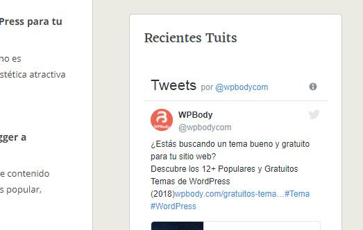 Recientes Tuits de Twitter en un Widget en la barra laretal de WordPress