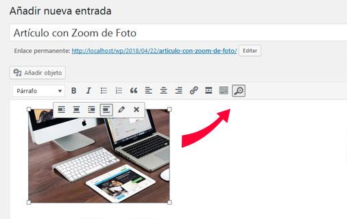Entrada de WordPress con zoom de foto