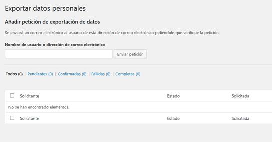 Exportar datos personales de usuario en WordPress