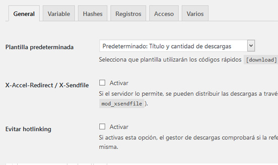 Ajustes de Download Monitor para monitorizar descargas en WordPress