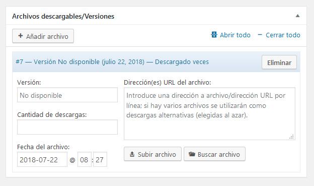 Subir un archivo en el gestor de descargas para monitorizar descargas