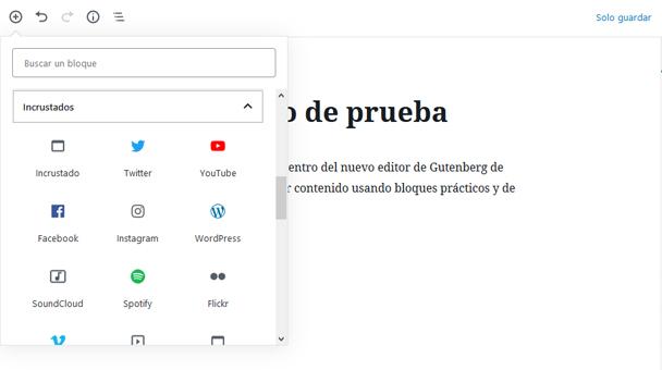 Bloque de incrustados del editor Gutenberg de WordPress