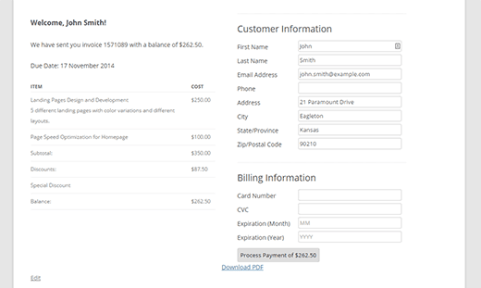 Clients will be able to view the invoice on your site