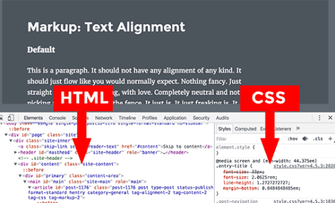 HTML and CSS Panes in Inspect window