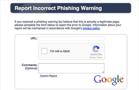 Incorrect phishing warning report