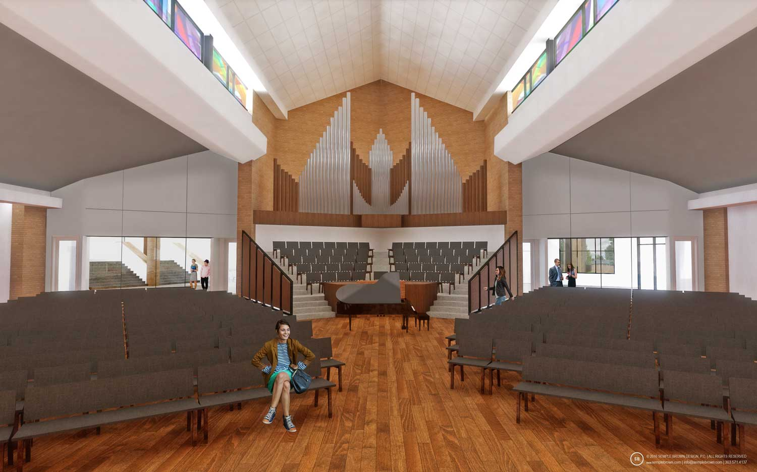 Proposed Wellshire Church Sanctuary Interior, looking West with painted ceiling