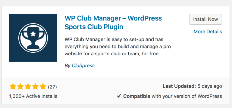 WP Club Manager install