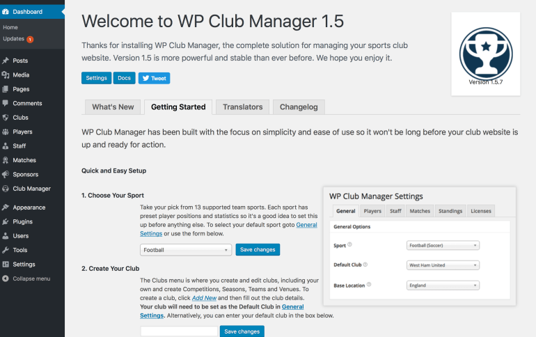 WP Club Manager welcome page