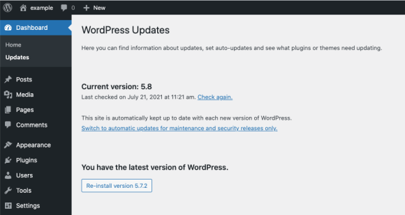 click 're-install version 5.7.2' button to rollback to older version