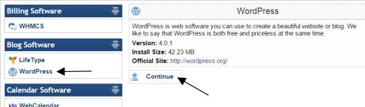WordPress in QuickInstall
