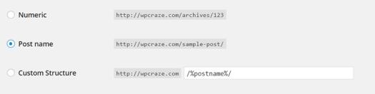 Permalink Structure Postname