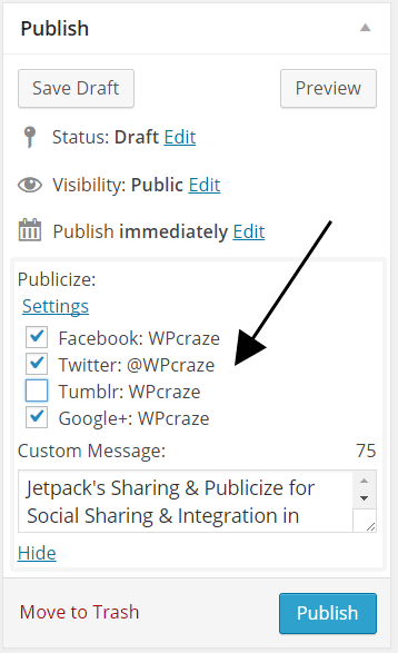 Publicize Options While Posting