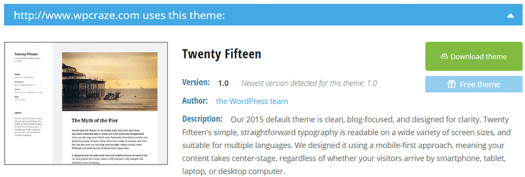 Twenty Fifteen WordPress Theme Detected