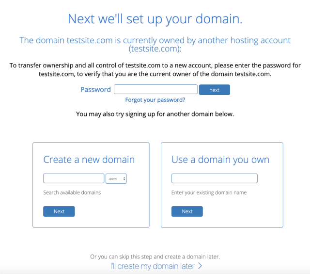 bluehost-domain-name-unavailable