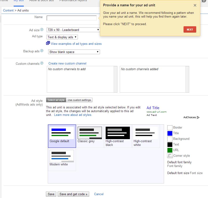 AdSense-create-ad-unit