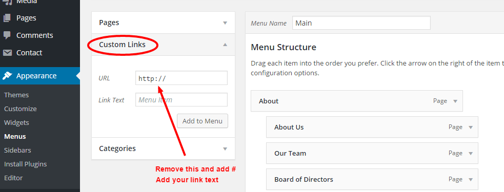 Menus - WordPress