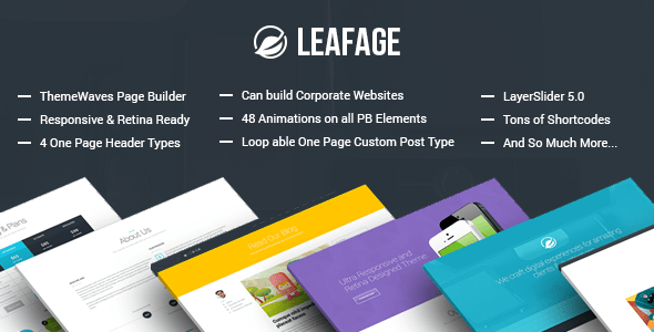 Leafage One-Page WordPress Theme