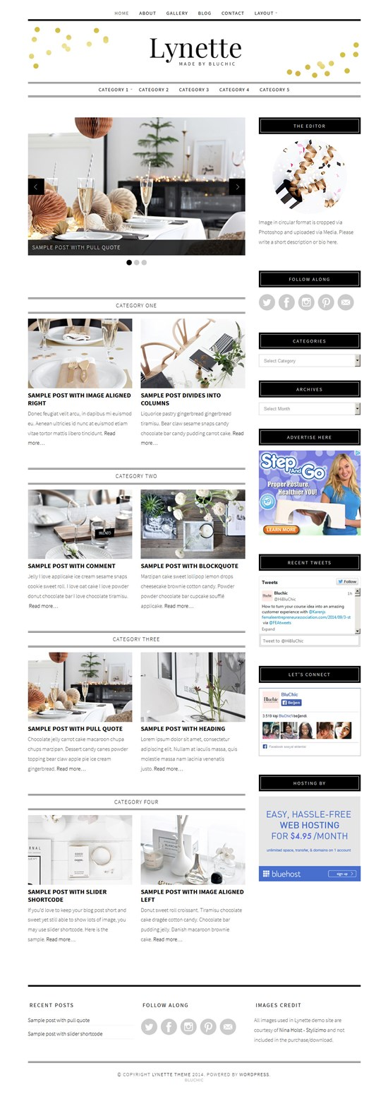 Lynette Feminine WordPress Theme for Female Bloggers