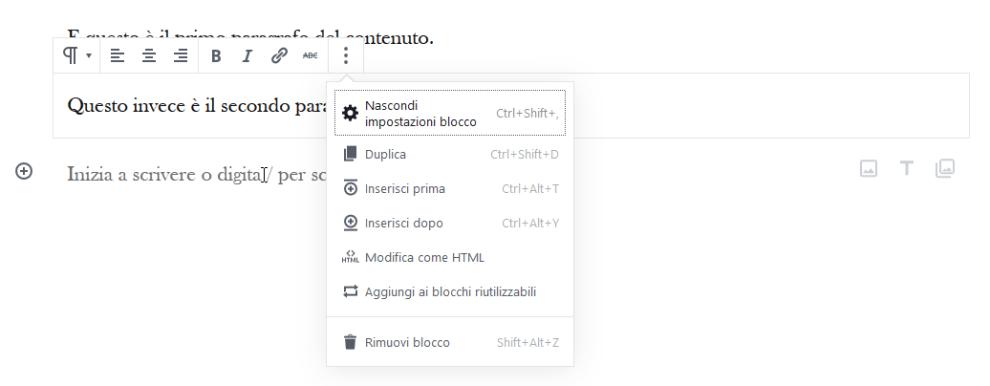 barra strumenti del blocco paragrafo in WordPress