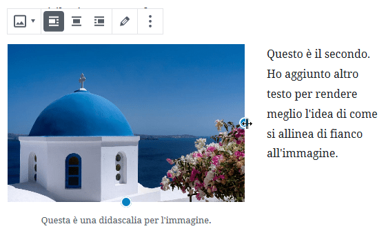 ridimensionamento immagine editor WordPress