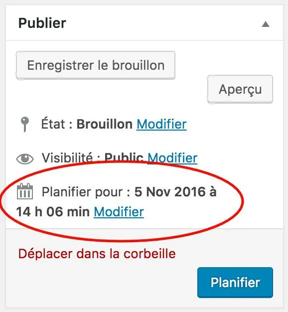 Plannifier un article