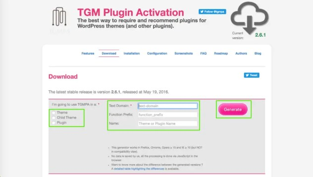 Télécharger le TGM Plugin Activation