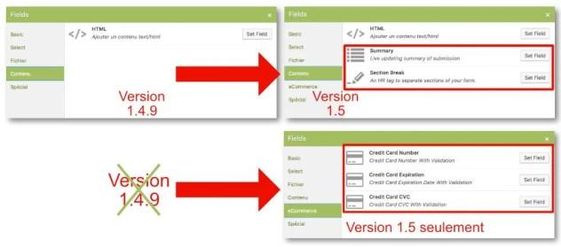 Caldera Forms 1.5 - onglet contenu et eCommerce