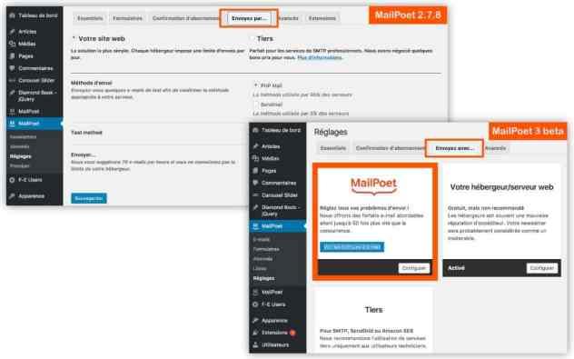 Type envoi MailPoet