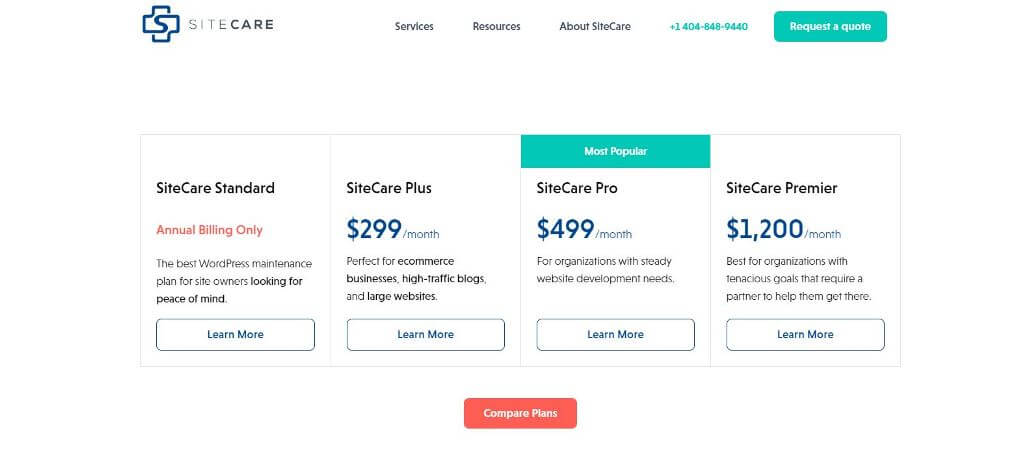 Site Care Pricing & Plans