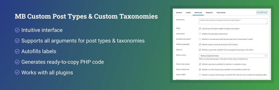 MB Custom Post Types & Custom Taxonomies By MetaBox.io