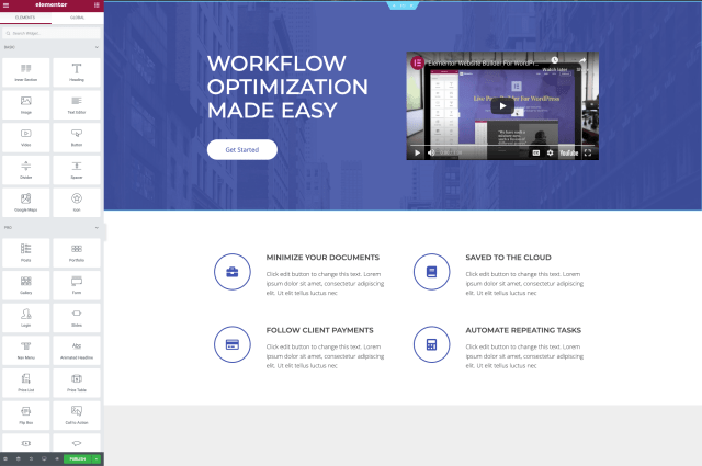 Elementor UI to build your WordPress landing page