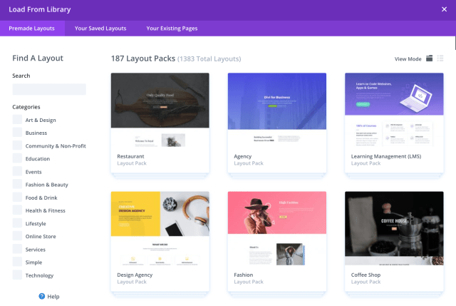 divi templates for a good WordPress landing page