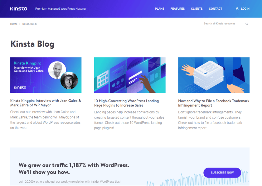 kinsta- best WordPress blogs