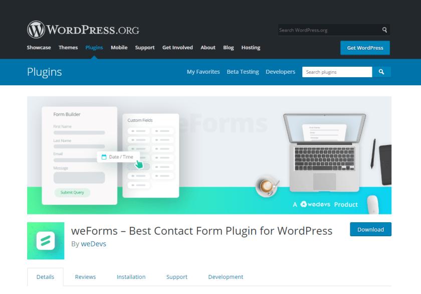 weForms- create e-commerce website using WordPress