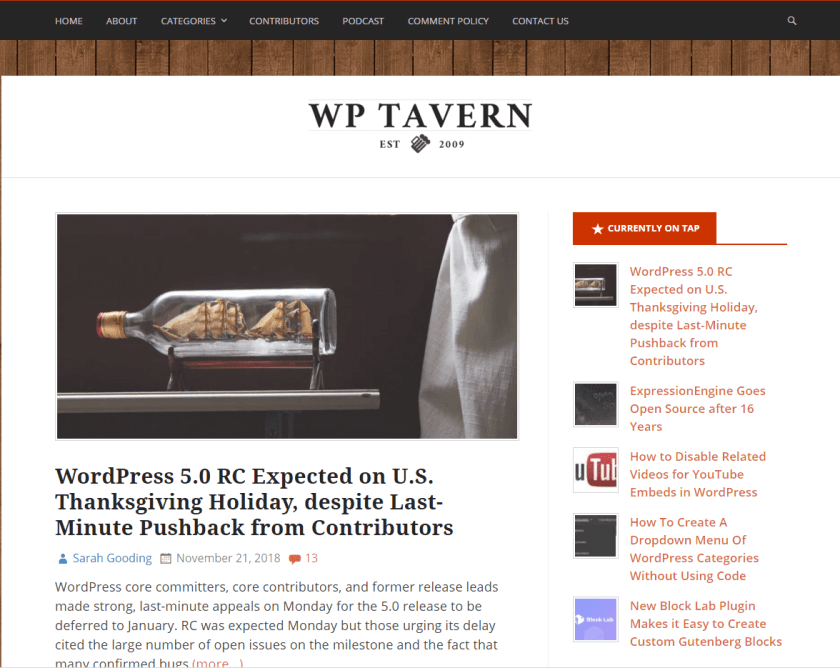 wp tavern- best WordPress blogs