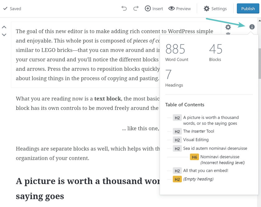 gutenberg-word-count-and-blocks WordPress 5.0 Review