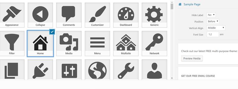 WordPress menu icon - menu icons themeisle